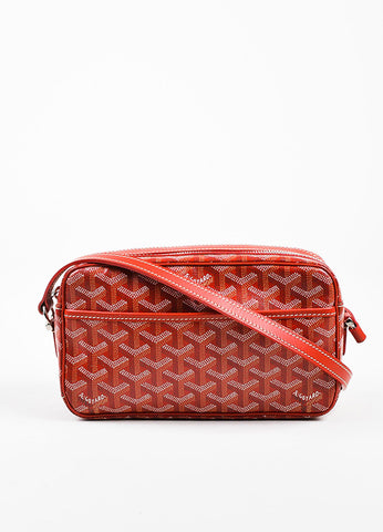 "Goyard Red and White Coated Canvas Leather Trim Chevron Print ""Sac Capvert"" Bag Frontview"