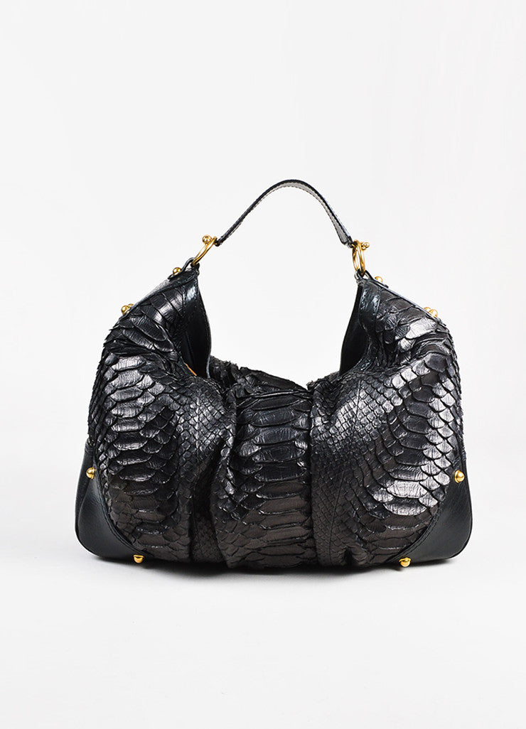 "Gucci Black Python Leather ""Large Jockey"" Hobo Bag Front 2"