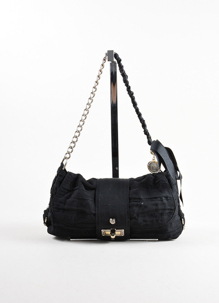 Gucci Black Chain Strap Ruched Shoulder Bag Front