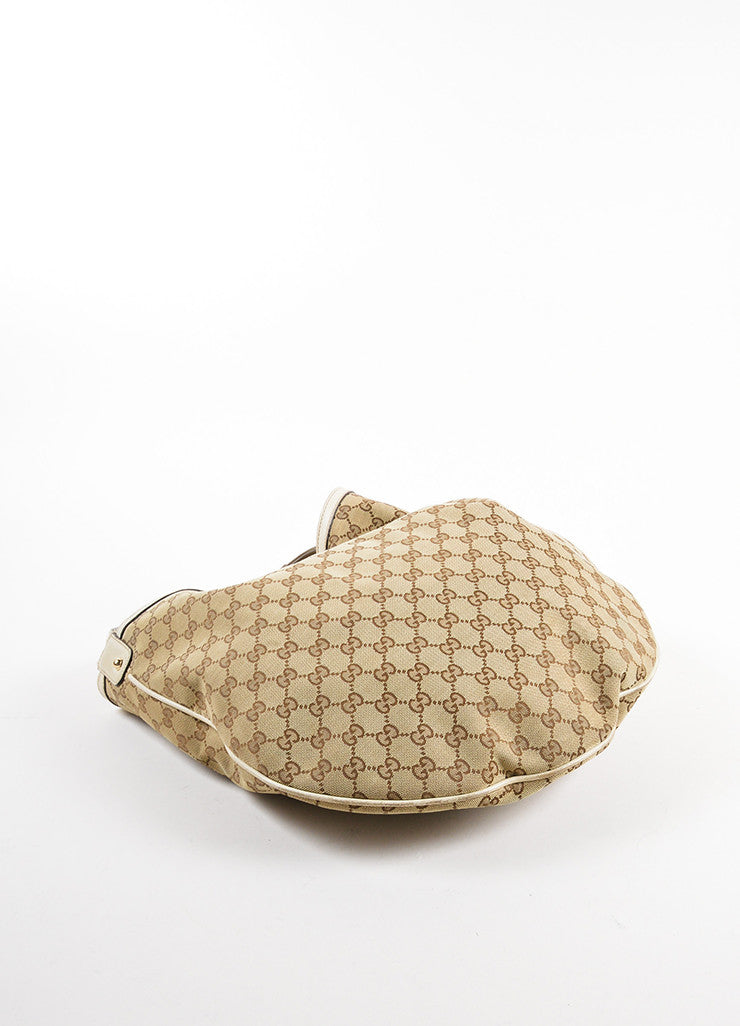 "Gucci Beige Monogram Canvas and Leather Horsebit ""Catena"" Hobo Bag Bottom View"