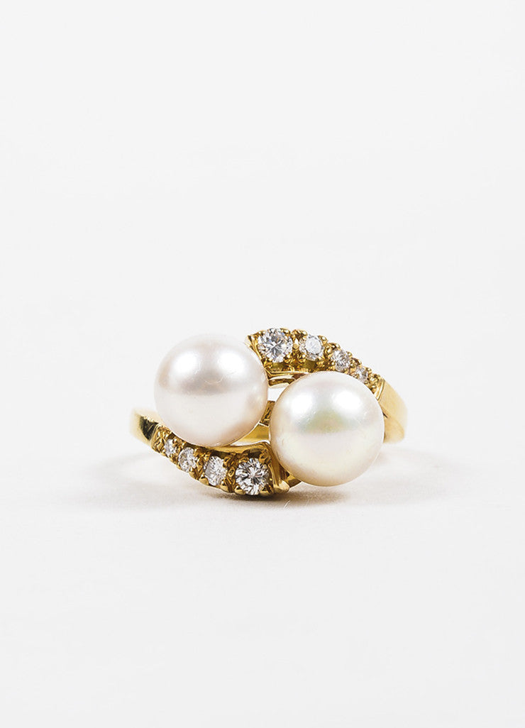 Gump's 18K Yellow Gold Diamond Accented Pearl Embellished Bypass Ring Frontview