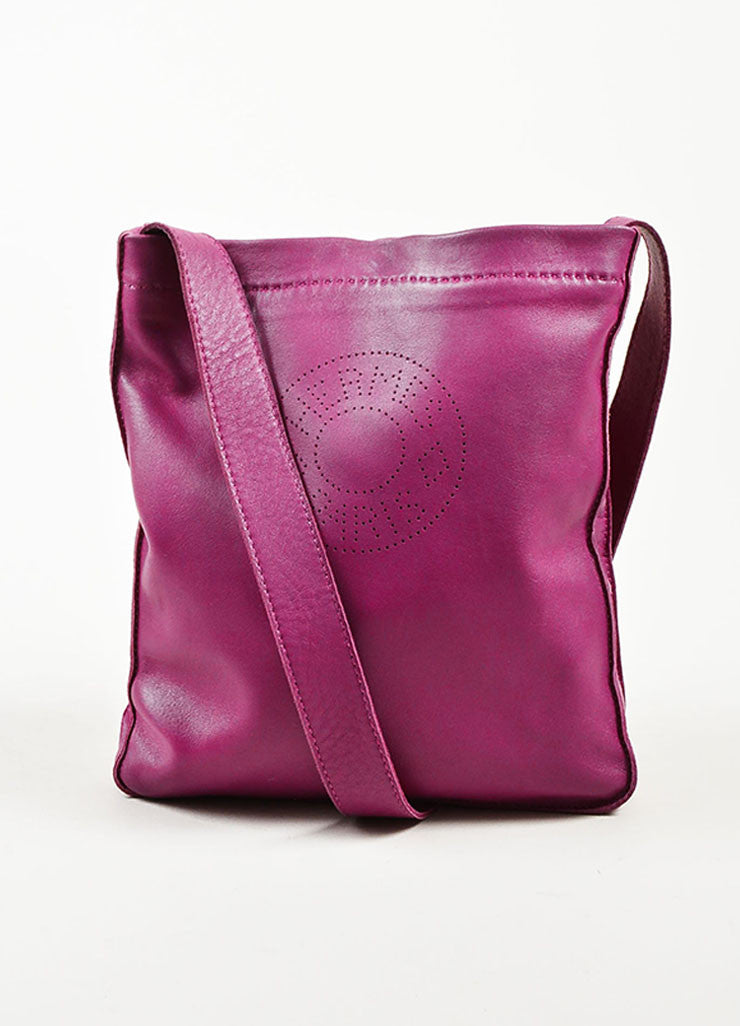 "Hermes Dark Magenta Lambskin Leather Perforated Logo ""Clou de Selle"" Bag Frontview"
