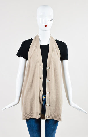 Hermes Beige Cashmere Buttoned Sleeveless Halter Sweater Vest Frontview