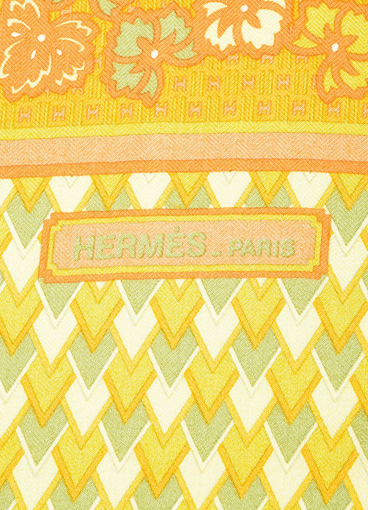 Orange and Green Hermes Cashmere and Silk Geometric Pattern 140cm Pashmina Scarf Brand