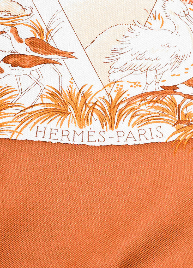 "Hermes Rust Orange and Cream ""Apres Le Deluge"" Animal Print Square Scarf Brand"