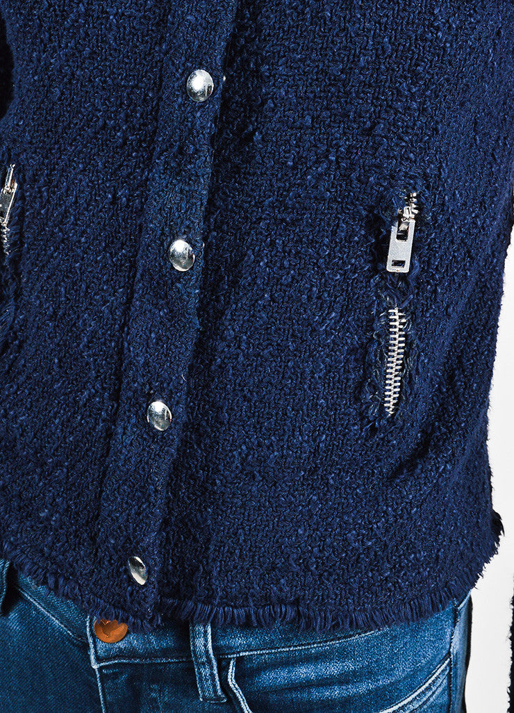 Navy Blue IRO Wool Boucle Silver Toned Zip Snap Jacket Detail