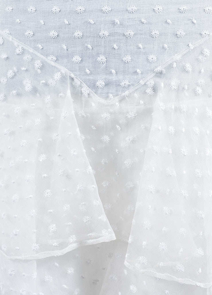 White Isabel Marant Silk Embroidered Ruffle Skirt Detail