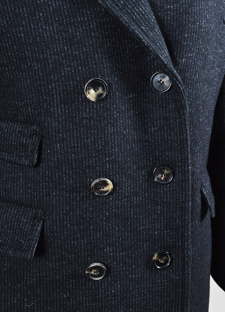 "Black Isabel Marant Wool Pinstripe Double Breasted ""Paojo"" Jacket Detail"
