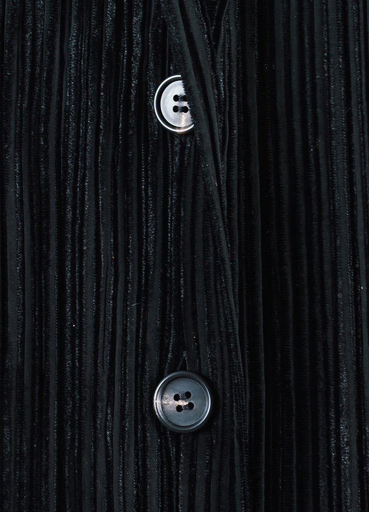 Issey Miyake Black Stretch Striped Velvet Trim Pleated Long Duster Jacket Detail