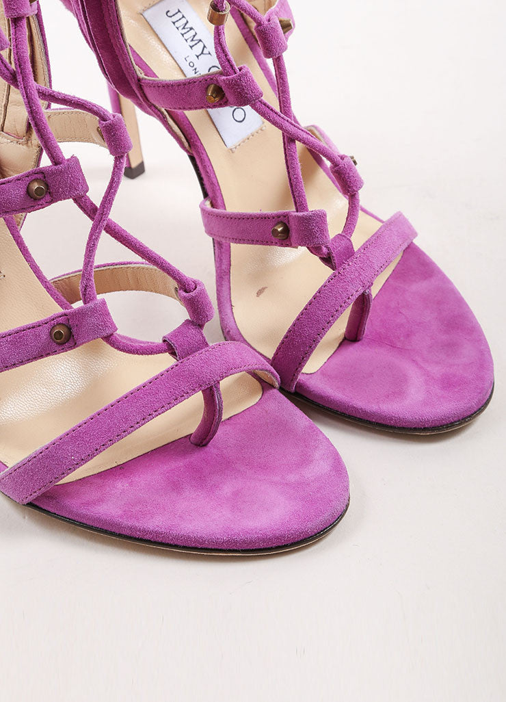 "Jimmy Choo Purple Suede Leather Lace Up Gladiator ""Manous"" Sandals Detail"
