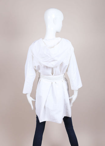 Karolina Zmarlak White Nylon Hooded Belted Jacket Backview