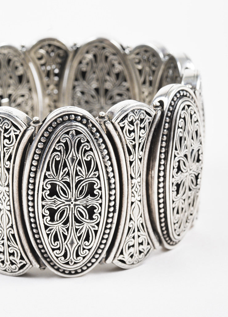 Konstantino Sterling Silver Filigree Etched Wide Oval Link Bracelet Detail