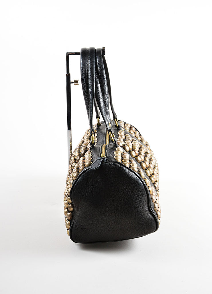 Lanvin Black and Gold Toned Distressed Studded Leather Barrel Bag Sideview