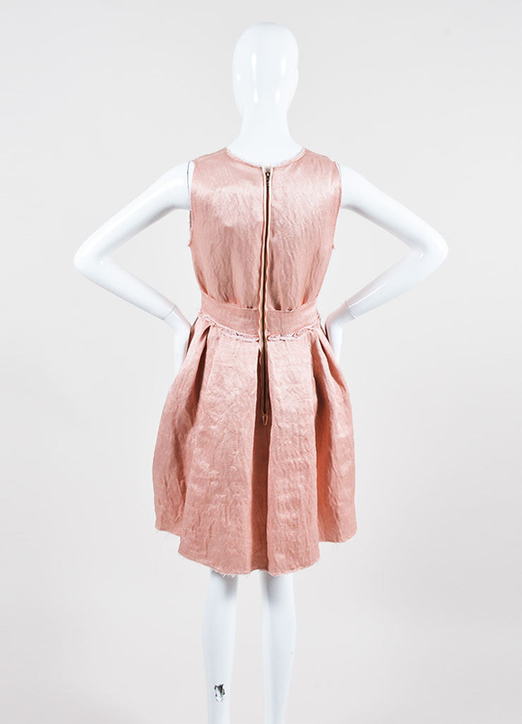 Blush Pink Lanvin Linen Textured Flower Bow Pleated Dress Backview