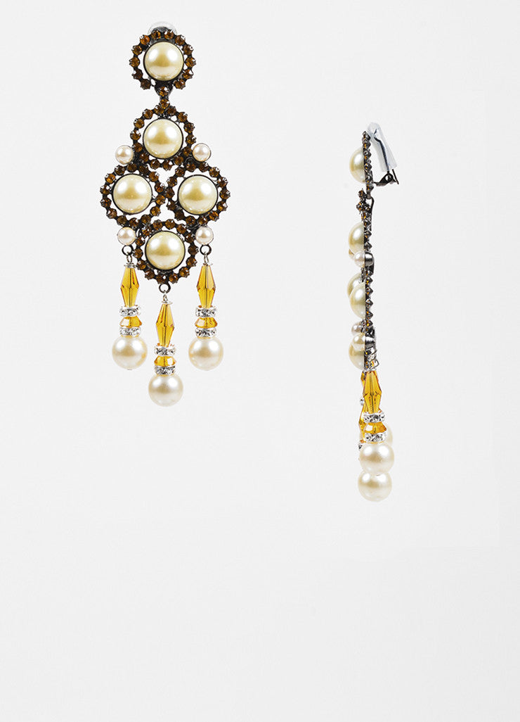 Lawrence VRBA Orange Crystal Faux Pearl Chandelier Clip On Earrings Sideview