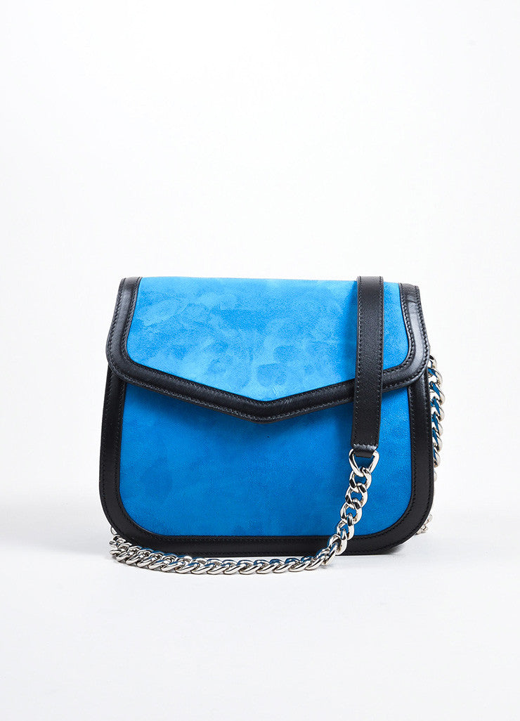 "Blue, Black, and Yellow Loewe Suede Leather Flap Cut Out ""V"" Shoulder Bag Frontview 2"