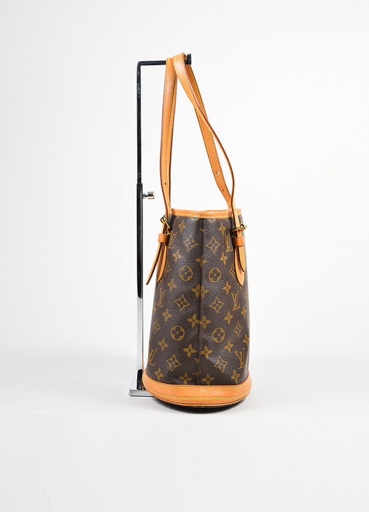 "Brown Louis Vuitton Coated Canvas Monogram ""Petit Bucket"" Tote with Pochette Sideview"
