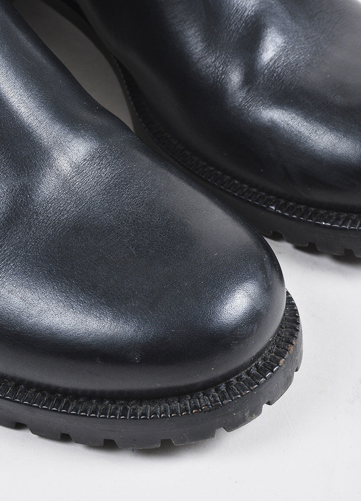 Louis Vuitton Black Leather Monogram Embossed Moto Boots Detail