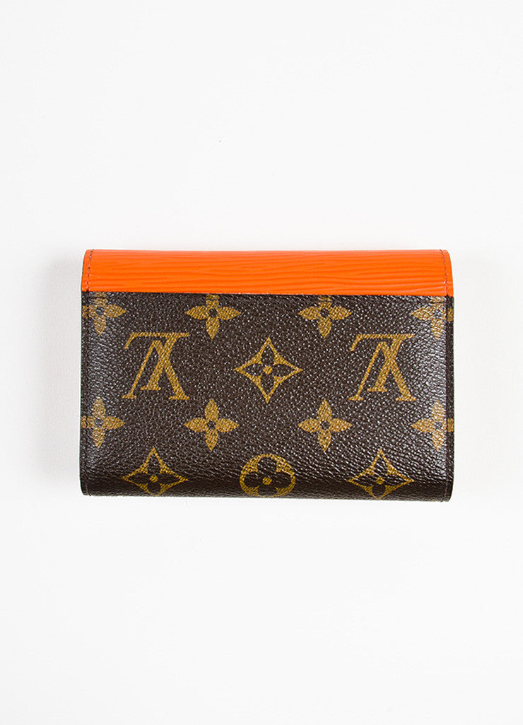 "Louis Vuitton Brown and Orange Epi Leather Monogram Compact ""Marie-Lou"" Wallet Backview"