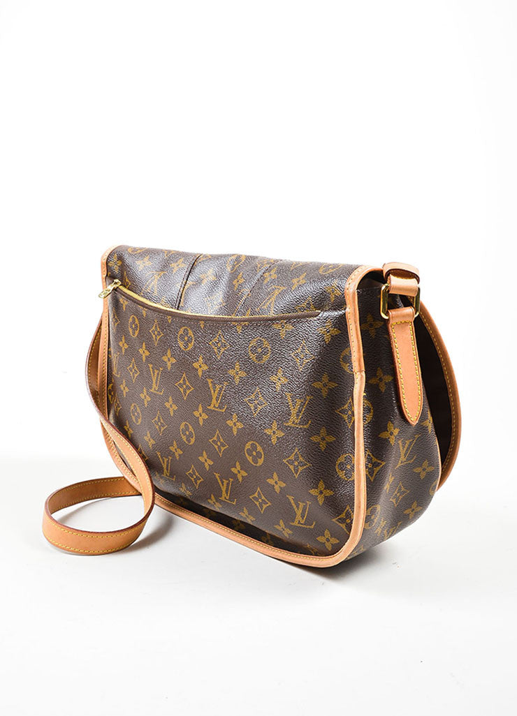 "Brown and Tan Louis Vuitton Coated Canvas Monogram ""Menilmontant MM"" Shoulder Bag Sideview"