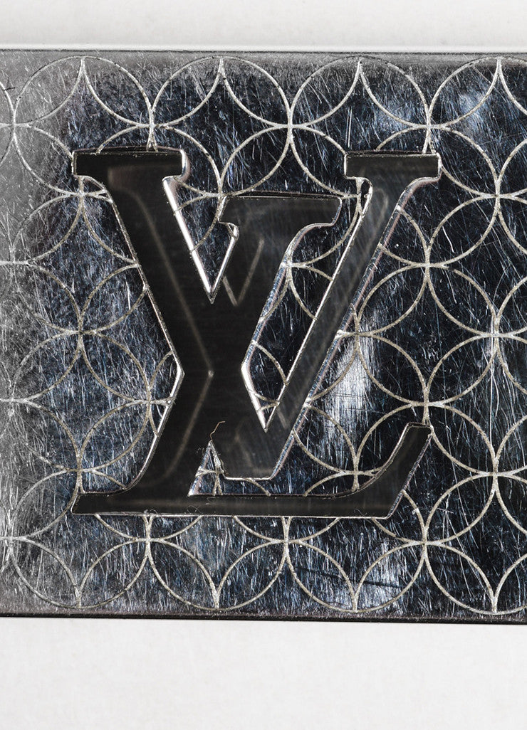 "Louis Vuitton Silver Toned Steel 'LV' Logo Cut Out ""Champs Elysees"" Money Clip Brand"