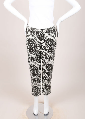 Marc Jacobs Black and Cream Wool and Satin Contrast Brocade Paisley Trouser Pants Frontview