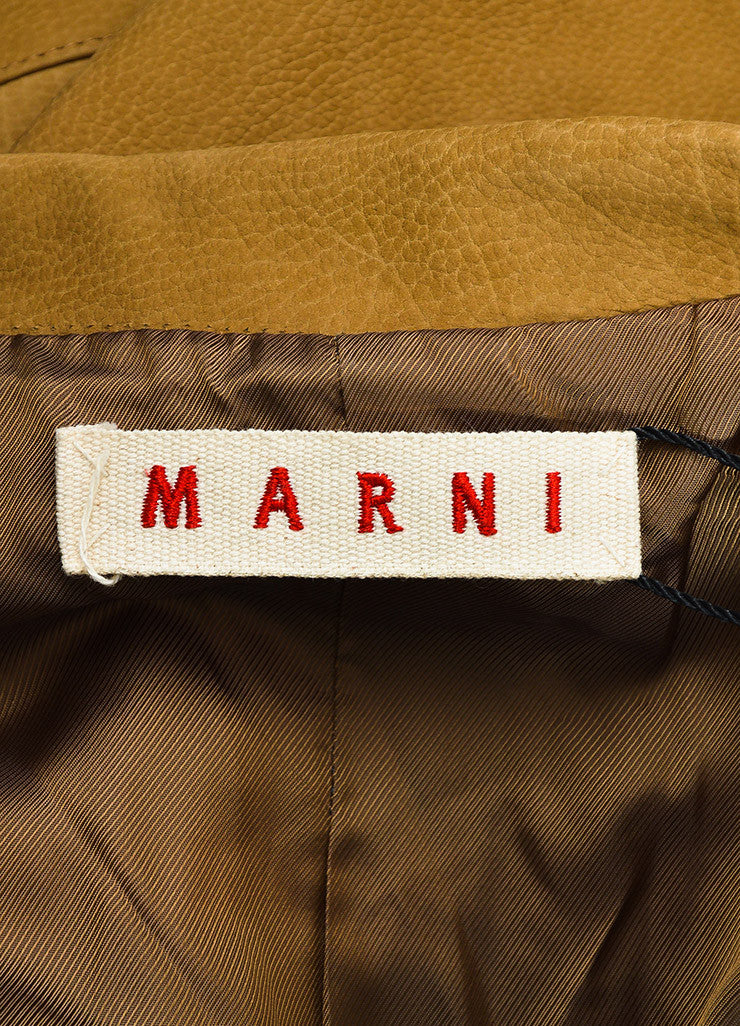 Marni Camel Tan Grained Leather Button Down Long Sleeve Coat Jacket Brand