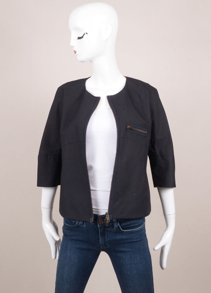 Marni Deep Navy Collarless Three Quarter Sleeve Shell Jacket Frontview