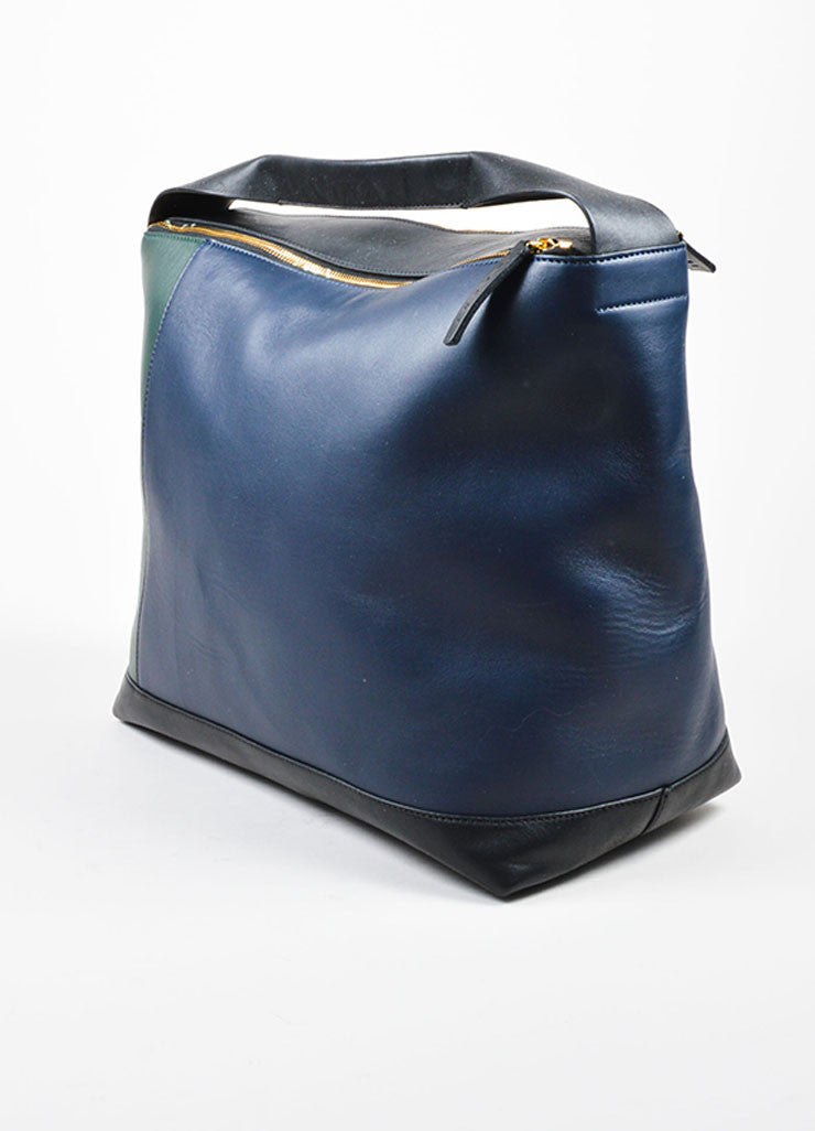 "Navy, Green, and Black Marni Lamb Leather Colorblock Hobo ""Pod"" Bag Sideview"