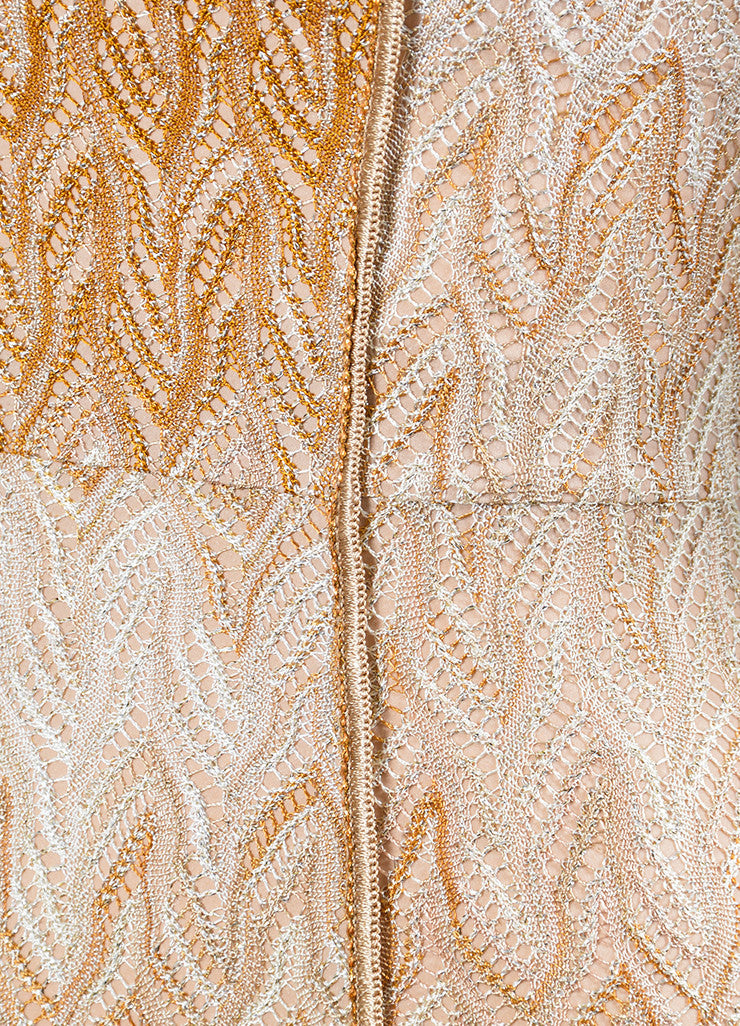 Tan and Gold Metallic Missoni Woven Knit Strapless Gown Detail