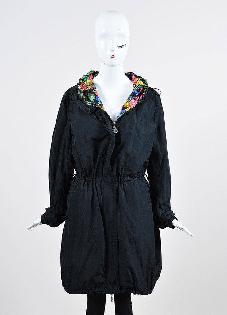 Black and Multicolor Moncler Floral Print Reversible Drawstring Anorak Rain Coat Frontview