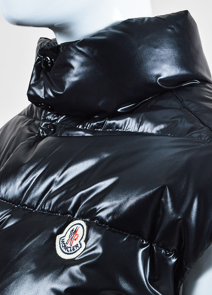 Black Moncler Nylon Down Quilted Puffer Vest Detail