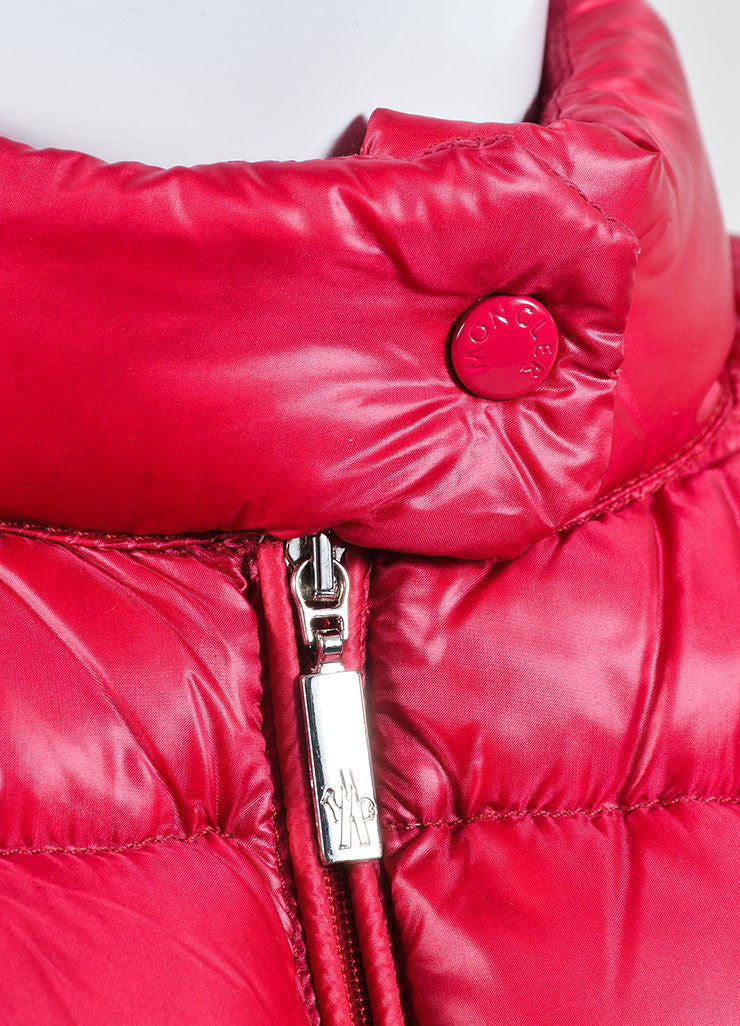 Cherry Red Moncler Channeled Puffer Stand Collar Jacket Detail