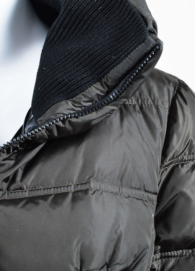 Dark Grey Moncler Nylon Down Quilted Knit Collar Puffer Coat Detail