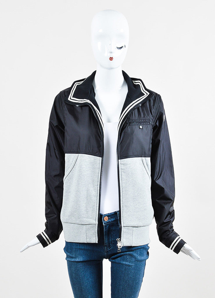 Moncler Black and Grey Knit Nylon Zip Up Windbreaker Jacket Frontview