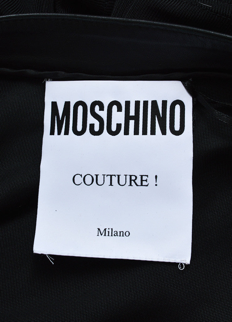 Black Moschino Leather Trim Logo One Sleeve Top Brand