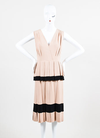 Nude and Black Moschino Pleated Tier V-Neck Sleeveless Dress Frontview