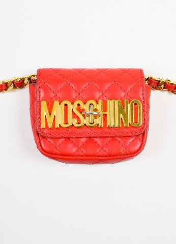 Moschino Red and Gold Toned Leather Quilted Mini Crossbody Belt Bag Frontview 2