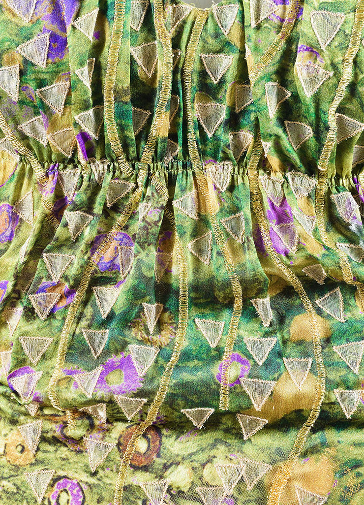 Oscar de la Renta Green, Purple, and Gold Silky Embroidered Strapless Gown Detail