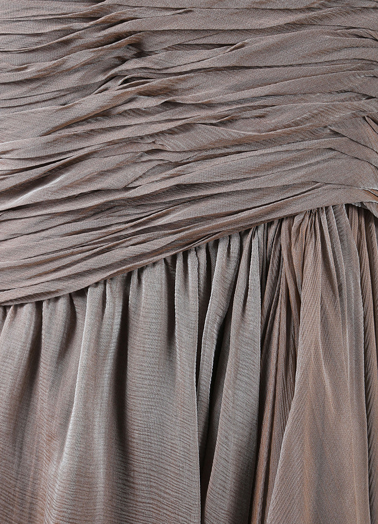 Oscar de la Renta Taupe Chiffon Strapless Draped Tea Length Dress Detail