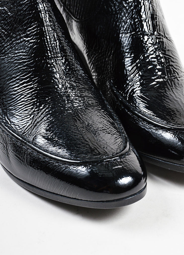 "Pierre Hardy Black Textured Patent Leather ""Ace"" Chelsea Boots Detail"