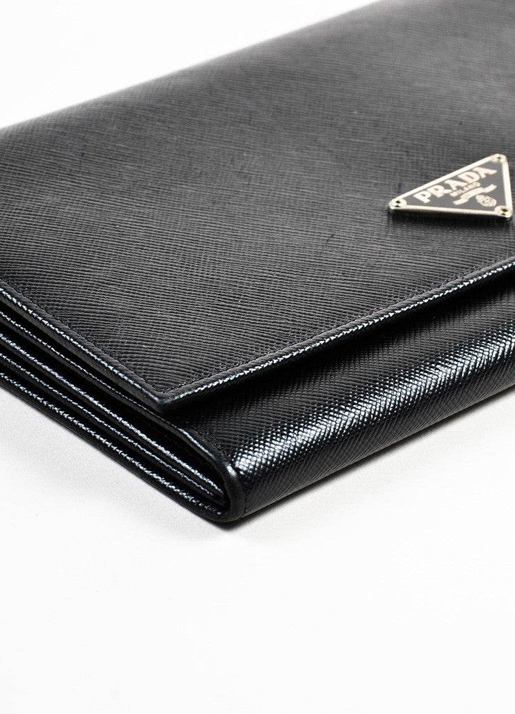 Prada Black Saffiano Leather Continental Wallet Detail