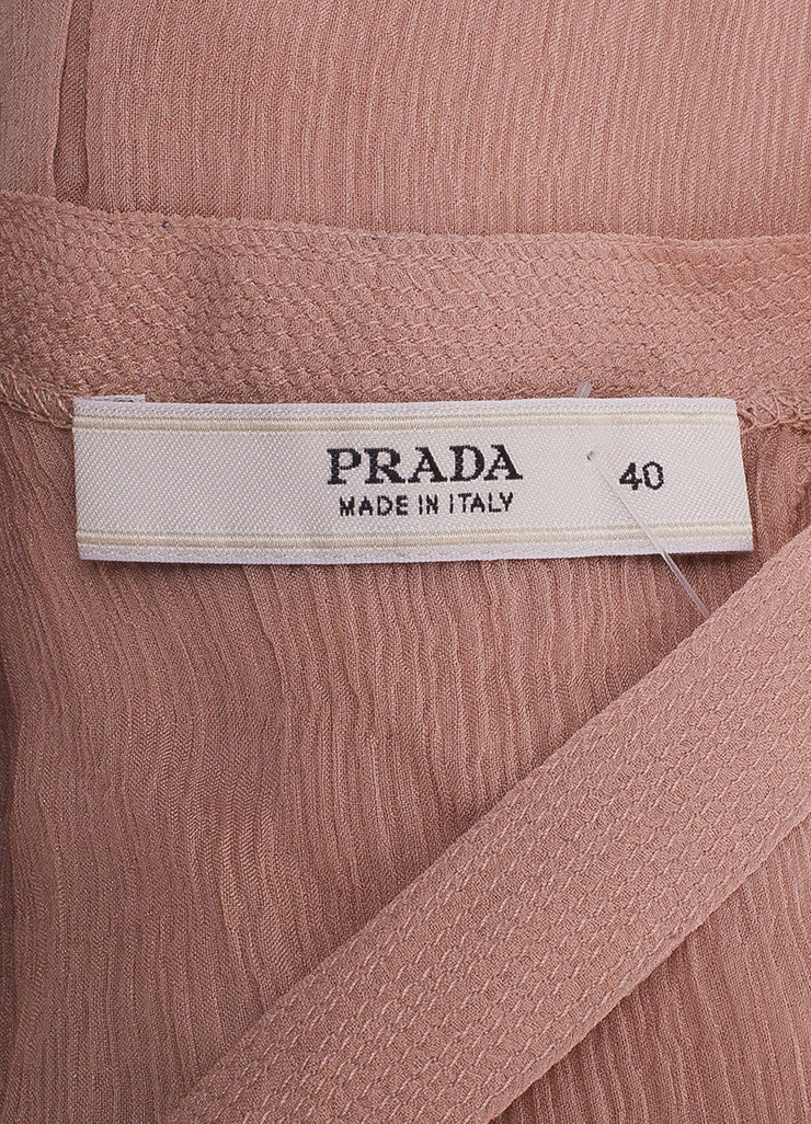Prada Blush Pleated Tie Back Sleeveless Blouse Brand