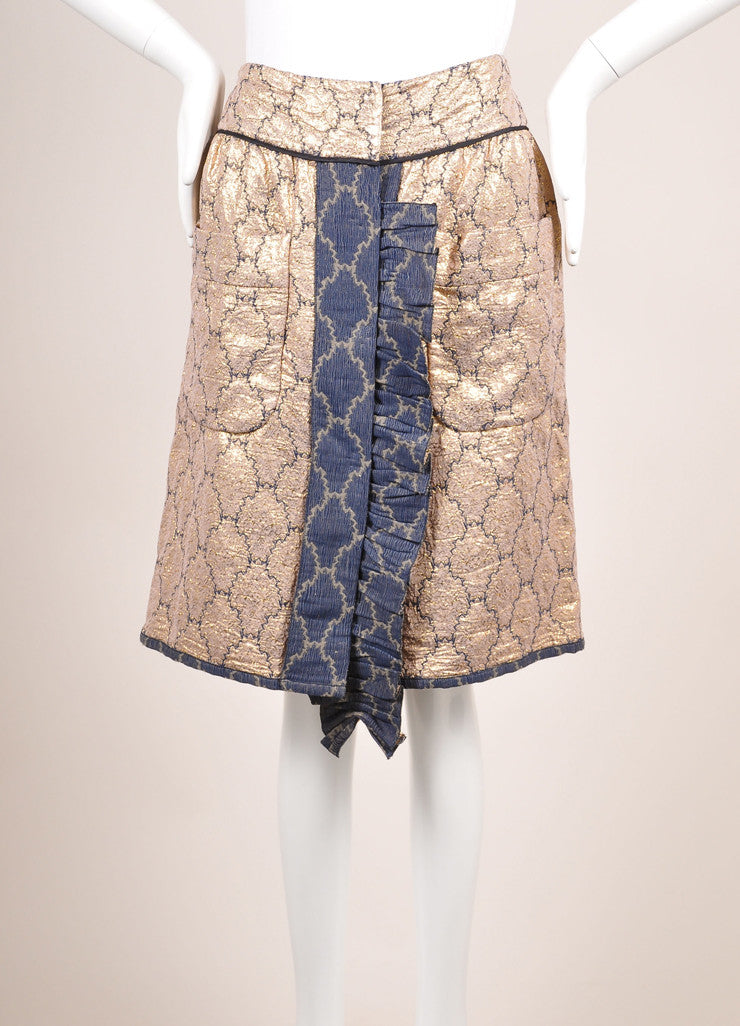 Prada Gold Metallic and Blue Brocade Embroidered Ruffle Trim Pocketed Skirt Frontview