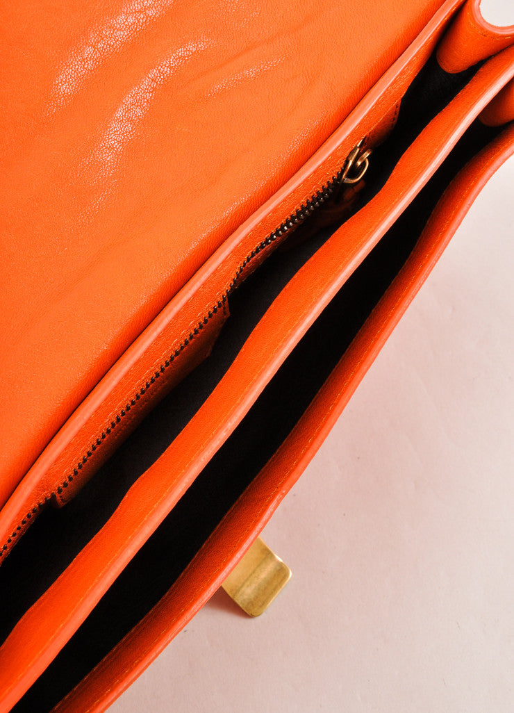 "Proenza Schouler Orange Leather Latch Flap ""PS1 Pochette"" Clutch Bag Inteiror"