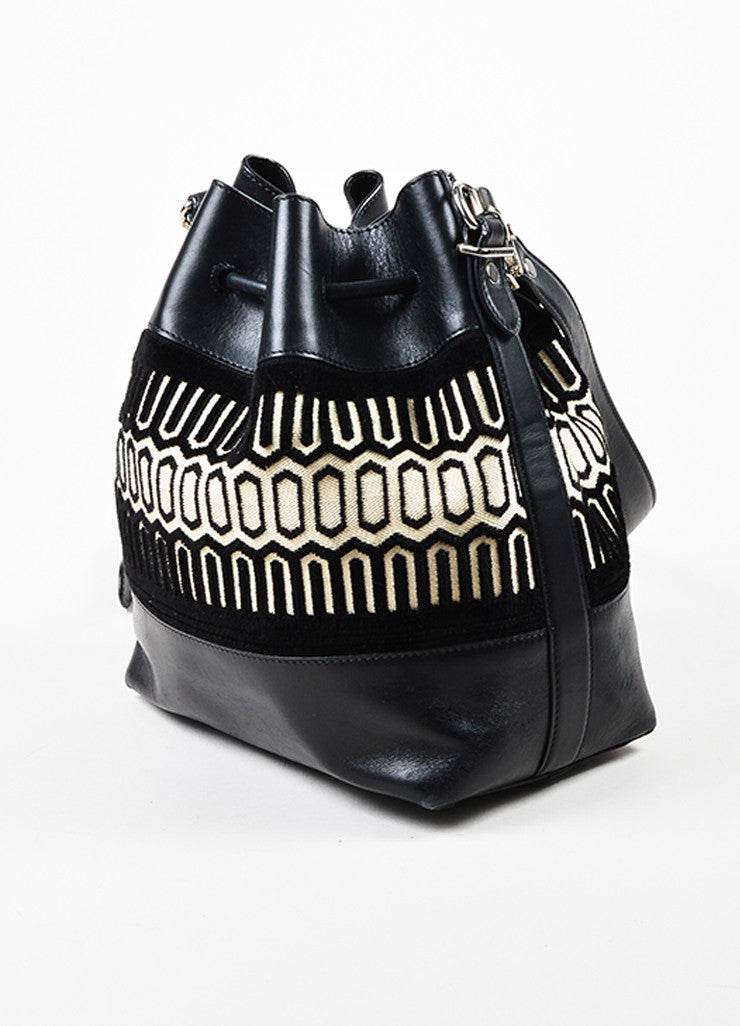 Proenza Schouler Black and Cream Leather Textile Patterned Bucket Bag Sideview