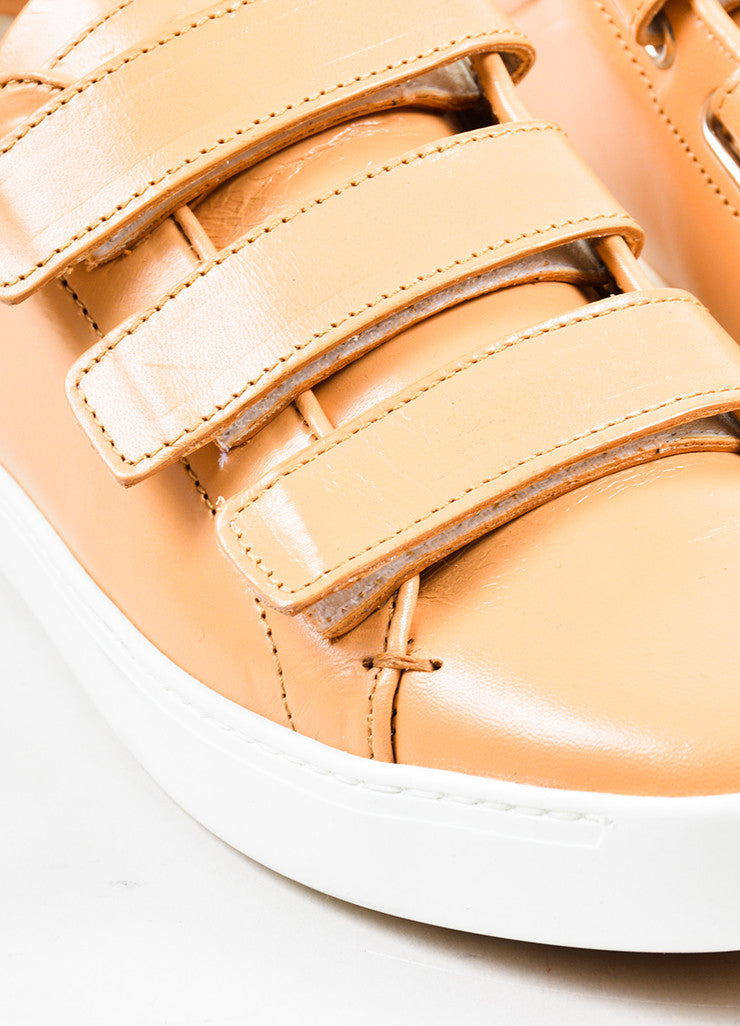 "Tan ""Sand"" and White Rag & Bone Leather ""Kent"" Velcro Low Top Sneakers Detail"