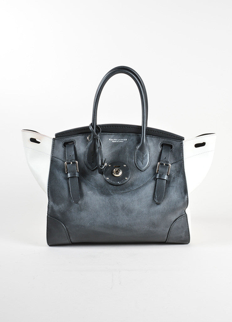 "Ralph Lauren Black and White Leather Color Block ""Soft Ricky"" Bag Frontview"