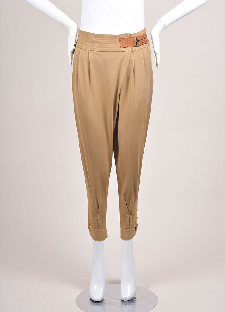 Ralph Lauren New With Tags Tan Pleated Tapered Pants Frontview
