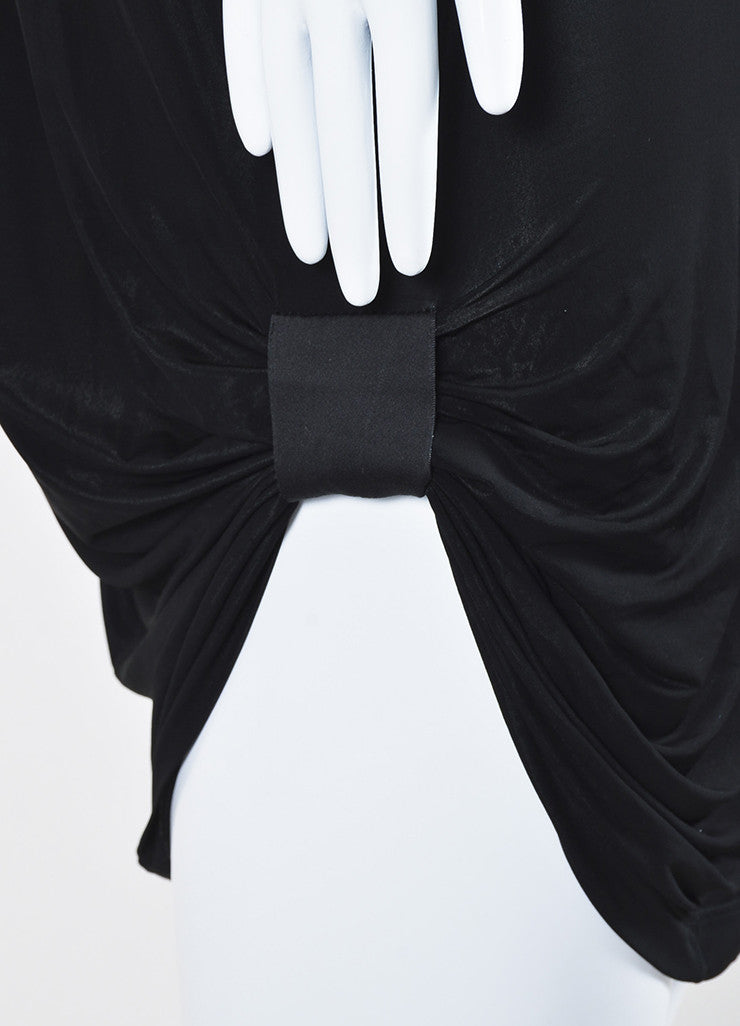 Rick Owens Black Stretch Jersey Gathered Asymmetric Sleeveless Tunic Dress Detail